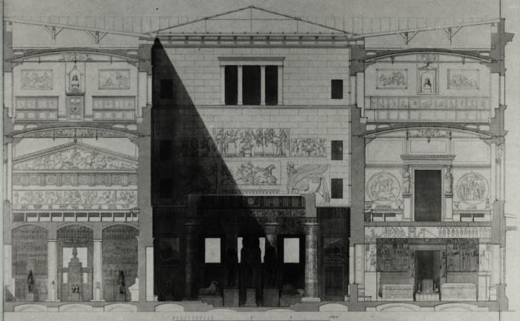 Bild 12, Neues Museum, Schnitt Nordflügel, Tafelwerk Stüler